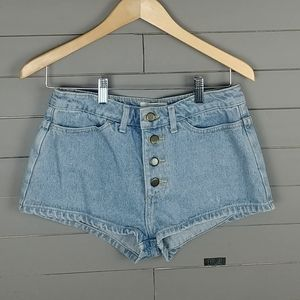 American Apparel Button fly High waist Jean Shorts
